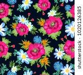 meadow flowers pattern on blue... | Shutterstock .eps vector #1020126385