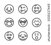 icons emoticons. vector smile ... | Shutterstock .eps vector #1020127645