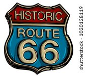 vintage road sign route 66... | Shutterstock .eps vector #1020128119