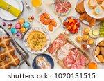 breakfast or brunch table... | Shutterstock . vector #1020131515