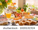 breakfast or brunch table... | Shutterstock . vector #1020131524