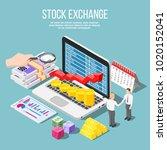 stock exchange isometric... | Shutterstock .eps vector #1020152041