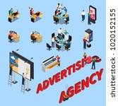 advertising agency isometric... | Shutterstock .eps vector #1020152155