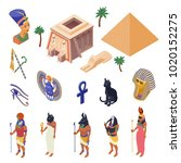egypt cultural symbols... | Shutterstock .eps vector #1020152275