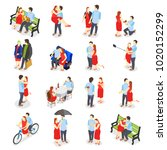 dating isometric icons with... | Shutterstock .eps vector #1020152299
