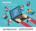 computer programmers work... | Shutterstock .eps vector #1020152335