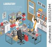 isometric scientific laboratory ... | Shutterstock .eps vector #1020152344