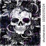 skull snake   rose  is a goth...   Shutterstock . vector #1020155224