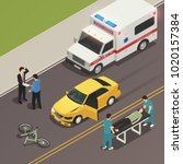traffic accident scene of car... | Shutterstock .eps vector #1020157384