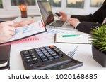 team work process. marketing... | Shutterstock . vector #1020168685