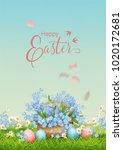 vector holiday poster. spring... | Shutterstock .eps vector #1020172681