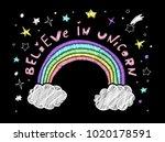 cute embroidery. believe in... | Shutterstock .eps vector #1020178591