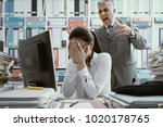angry boss yelling at his young ... | Shutterstock . vector #1020178765