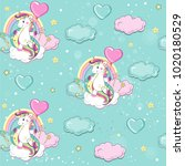 beautiful unicorn flies in a... | Shutterstock .eps vector #1020180529