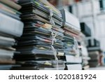 stacks of paperwork and files... | Shutterstock . vector #1020181924