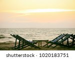 empty beach chair on the... | Shutterstock . vector #1020183751