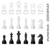 set of icons of chess pieces ... | Shutterstock .eps vector #1020184165