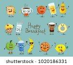 funny happy breakfast food... | Shutterstock .eps vector #1020186331