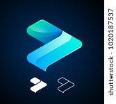 vector abstract arrow logo... | Shutterstock .eps vector #1020187537