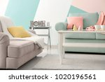 living room interior with... | Shutterstock . vector #1020196561