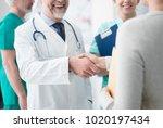 smiling confident doctor... | Shutterstock . vector #1020197434
