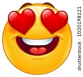 smiling emoticon face with... | Shutterstock .eps vector #1020198121