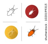 cockroach icon. flat design ... | Shutterstock . vector #1020199315