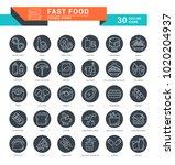 set of outline white icons on... | Shutterstock .eps vector #1020204937