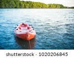 a empty kayak on the sea with...   Shutterstock . vector #1020206845