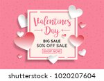 valentines day sale background... | Shutterstock .eps vector #1020207604