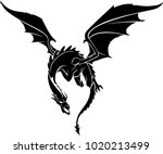 dragon front flying | Shutterstock .eps vector #1020213499