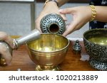 in thai traditional  pouring... | Shutterstock . vector #1020213889