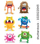 cute monsters vector set | Shutterstock .eps vector #102022045