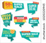 modern origami sale stickers... | Shutterstock .eps vector #1020220945