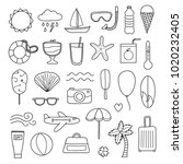 set of doodle outline summer... | Shutterstock .eps vector #1020232405