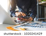 businessman hand working with... | Shutterstock . vector #1020241429