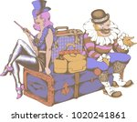 cabaret singer and clown with... | Shutterstock .eps vector #1020241861