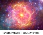 exploding supernova in space ... | Shutterstock . vector #1020241981
