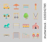 icons about amusement park with ... | Shutterstock .eps vector #1020242785