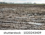 very wet agriculture clay field ... | Shutterstock . vector #1020243409
