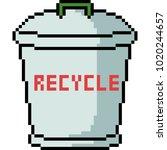 Vector Pixel Art Recycle Bin...