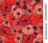 Red Poppies Seamless Pattern....