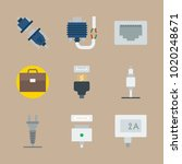icons connectors cables with... | Shutterstock .eps vector #1020248671