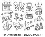 mardi gras carnival line icons...   Shutterstock .eps vector #1020259384