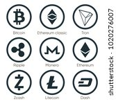 flat cryptocurrencies icons of... | Shutterstock .eps vector #1020276007