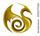 golden dragon on a white... | Shutterstock .eps vector #1020279181