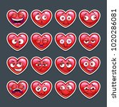 cute cartoon red heart emoji... | Shutterstock .eps vector #1020286081