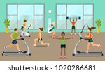 empty gym with exercise...   Shutterstock .eps vector #1020286681
