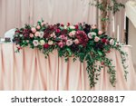 rich bouquet of red  pink and... | Shutterstock . vector #1020288817