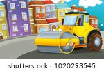 cartoon road roller truck in... | Shutterstock . vector #1020293545